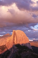 Half dome from Glacier Point at sunset, Sierra Nevada. Yosemite National Park. California. USA