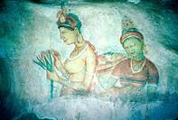 Mural painting representing women at cave. Sirigaya. Sri Lanka