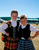 Costumes, Europe, European, Girls, Holiday, Landmark, Outdoors, People, Pose, Posing, Scotland, United Kingdom, Great Britain, S