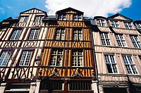 Half timbered buildings in Rouen old town. Normandy. France