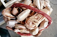Ballet shoes in basket