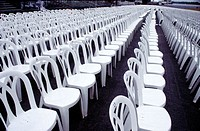 Delaware State Fair: Empty chairs ready for the concert crowds. Delaware, USA