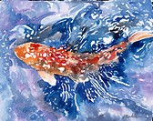 Ornamental Koi II by John Bunker, watercolor on paper, 1996