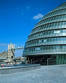 Government building near a bridge, City Hall, Tower Bridge, London, England