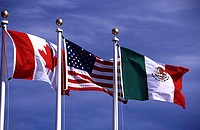 Flags of Mexico, United States and Canada