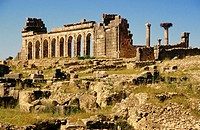 Roman ruins of Volubilis, the Basilic. Morocco