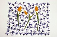 Three Yellow Tulips, Purple Flowers