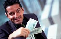 Mann mit Dollarnoten | Man with Dollarnotes |