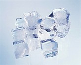 Lots of ice cubes, blue background (1)