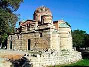 Episcopal church on the ruins of old Byzantine basilica. Tegea. Arcadia, Peloponnese. Greece