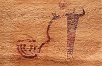 Pictographs (2000 yrs. Old). Buckhorn Wash rock art site. San Rafael Swell. Utah. USA