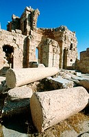 Ruins of church at fortress, old Roman city. Risafe. Syria