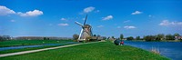 Windmill and Canals, near Leiden, The Netherlands