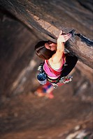 Overview, Woman Mountain Climbing, Reaching for Top,/n Dark Shadows, Mescalito, /nRed Rocks, Nevada, US