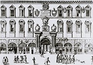 Padua University. Engraving of the University of Padua, Italy, in 1600. Italian physicist & astro- nomer Galileo and British physiologist William Harv...