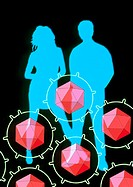 AIDS. Artwork of the outlines of a man and a woman and AIDS viruses. AIDS (acquired immune deficiency syndrome) is a disease caused by the Human Immun...