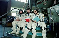 Astronaut training. Astronauts during training at Star City, Russia, for the Andromede mission to the International Space Station (ISS). From left to ...