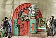 Electric lighthouse light, 19th century artwork. Display of an electric light and its steam-powered generator. Patented by Frederick Hale Holmes, this...