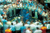 Photo of trading on a stock exchange, men, work actions.