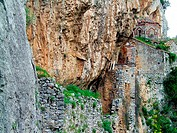Philosophos Monastery (10th century) built on the steep rocks of Lousios gorge. Arcadia, Peloponnese. Greece