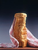 10637901, food, breakfast, pastry, cake, cut, stacked, culinary cloth, food, groceries, discs, slices, piles, large amounts, s