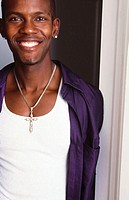 Young black man smiling