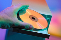 Computer with compact disc in platter