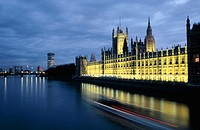 Houses of Parliament (Westminster Palace) and Thames River. London. England
