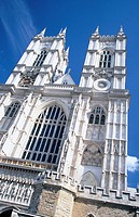 West facade of Westminster Abbey, built in Gothic style. London. England (thumbnail)