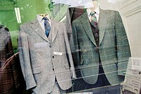 'Tweed'coats in shop window. Dublin. Ireland