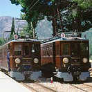 Historical railway engines. Soller. Majorca. Balearic Islands. Spain