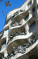 Detail of the balconies of Milà House, aka 'La Pedrera' (Gaudí, 1906-1912). Barcelona. Spain