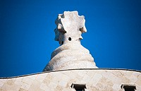Detail of the roof terrace of Milà House, aka 'La Pedrera' (Gaudí, 1906-1912). Barcelona. Spain