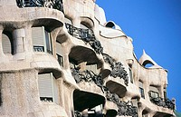 Detail fo the facade of Milà House, aka 'La Pedrera' (Gaudí, 1906-1912). Barcelona. Spain