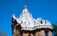 Roof of one of the pavilions at Güell Park (Gaudí, 1900-1914). Barcelona. Spain