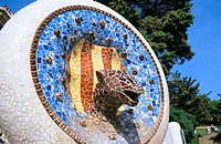 Decorative mosaic with Catalan elements at the Güell Park (Gaudí, 1900-1914). Barcelona. Spain