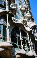 Detail of the facade of Batlló House (Gaudí, 1904-1906). Barcelona. Spain