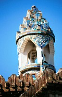 Detail of lantern of pavillion at the Güell Estate (Gaudí, 1880's). Barcelona. Spain