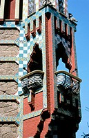 Balcony on the corner of Vicens House (Gaudí, 1878-1880). Barcelona. Spain