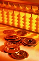 Abacus and chinese coins
