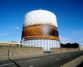 Gas storage tank for domestic supplies. Dundee. Scotland
