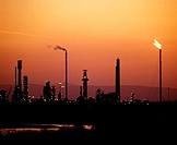 Oil refinery at dusk. Scotland