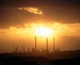 Oil refinery at sunset, near Pembroke. South Wales