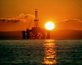 Semi-submersible oil rig at sunrise. Firth of Forth. Scotland