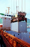 Loading cargo containers. Port of Bilbao. Biscay. Basque Country. Spain
