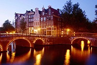 Canals and bridges at night. Amsterdam. Holland
