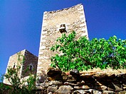 Regional style towers of stone in Vathia village on Mani Peninsula. Laconia, Peloponnese. Greece
