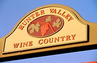 Hunter Valley Wine Country sign. Australia