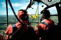 Inside cockpit of  an 'Alouette III' helicopter and 'Canadair' water bomber. Provence. France