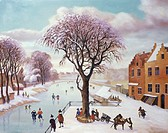 Dutch Skaters on The Canal Hans van Heert (20th Century/Dutch)